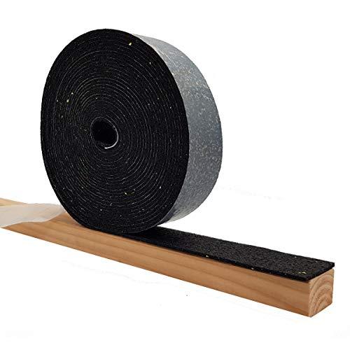 Lot de 2 rouleaux de dalles autocollantes en granulés de caoutchouc de 3 mm - Pour la construction de terrasse - 10 000 x 50 x 3 mm