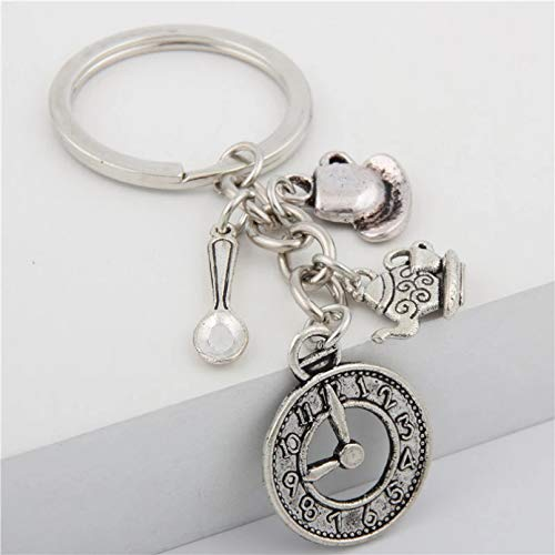 MENGYUE 1Pc Retro Teapot Teacup Charms Keyring Spoon Clock Keyholder Women Hanbag Gift Llaveros Mujer Jewelry Handcraft