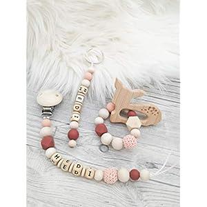 Geschenkset Reh, Schnullerkette, Beißring, Schlüsselanhänger