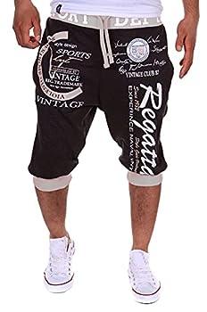Elegeet Men s Short Hiphop Dance Jogger Sweatpants Trousers Black Large