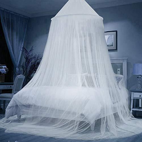Mosquitera para cama, Universal White Dome Malla de mosquitera, Cama Portátil Mosquitose, Suave y Cómodo, Cortina Antimosquitos de Cama para Camas Individuales y Dobles