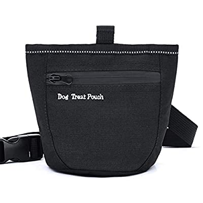 Aplusdeal Dog Training Treat Pouch Bag Pet Puppy Treat Snack Bags Dog Treat Carrier Bait Walking Bag with Magnetic Closure Waist Clips & Adjustable Strap, Black