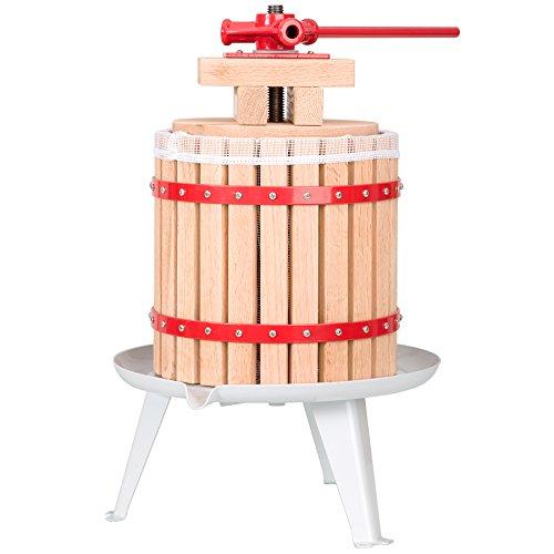 TecTake Pressoir à Baies Fruit jus Manuel Presse mécanique Pommes vin en Bois de chêne Toile à pressoir Incluse - diverses Tailles au Choix - (12 litres | no. 402019)