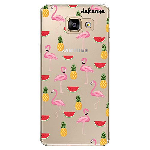 dakanna Funda Compatible con [Samsung A5 2016] de Silicona Flexible, Dibujo Diseño [Patron flamencos y Frutas piña Sandia], Color [Fondo Transparente] Carcasa Case Cover de Gel TPU para Smartphone