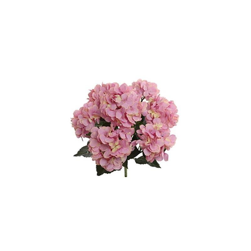 silk flower arrangements hydrangea silk flowers plant, pink, indoor home decoration, outdoor plant, wedding, centerpieces, bouquets, 2-pack, artificial hydrangeas bush with 7 large gorgeous bloom clusters, leaves, stems