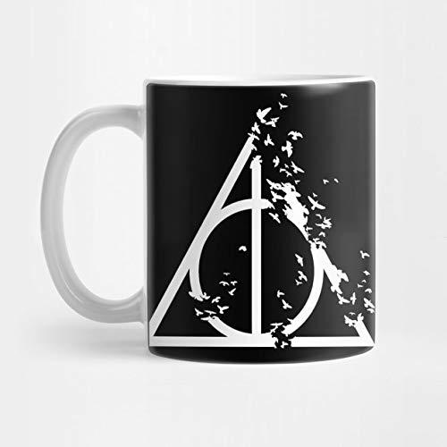 Llynice Harry Potter - Heiligtümer des Todes mit zerstörerischen Vögeln (weiß) - Elderstab, Unsichtbarkeitsumhang, Auferstehungsstein - Potterhead-Geschenk 11 Unzen-Kaffeetasse
