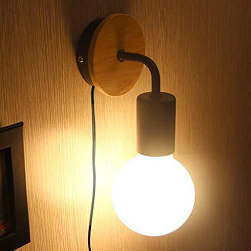 ZQH Moderne wandlampen, E27 jaargang industriële wandlamp met stekker rustieke dakverdieping houten sokkel wandlamp voor slaapkamer cafe bar restaurant kantoor schakelaar wisselen