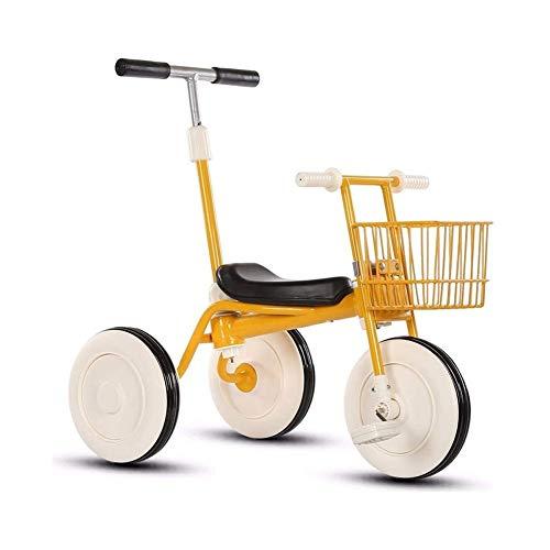 TQJ Cochecito de Bebe Ligero Triciclo Niños con Desmontable Manija De Empuje De 3 Ruedas Niños Pequeños A Niños Paseo En El Pedal De La Bici De Trike 15 Meses A 5 Años (Amarillo)