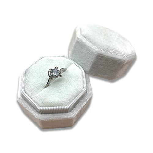 ZJL220 Caja de terciopelo octogonal con anillo – Magnífico soporte de exhibición de un solo anillo con tapa desmontable para propuesta, compromiso, boda, ceremonia, 11