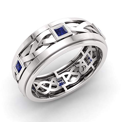 Diamondere Natural and Certified Princess Cut Blue Sapphire Wedding Ring in 925 Sterling Silver | 0.97 Carat Celtic Knot Ring for Mens, US Size 7.5