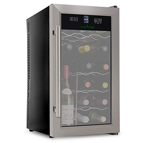 NutriChef PKDSWC18 18 Bottle Dual Zone Thermoelectric Wine Cooler, Red and White Wine Chiller, Countertop Wine Cellar, Freestanding Refrigerator, With LCD Digital Touch Controls (Renewed)
