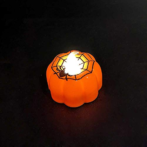XPRESS Halloween Lights Bar KTV Decoration Props LED Glowing Candle Lights Night Light Pumpkin Flameless Candles Realistic Led Lights12 Spider Web Pattern