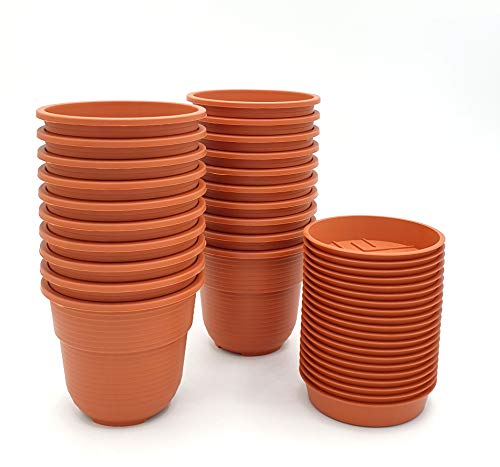 Anzuchttöpfe 8 cm Durchmesser 20 Stück mit Untersetzer Farbe: Terrakotta, Kunststoff Pflanztopf aus witterungsbeständigen Material, runde Saattöpfe