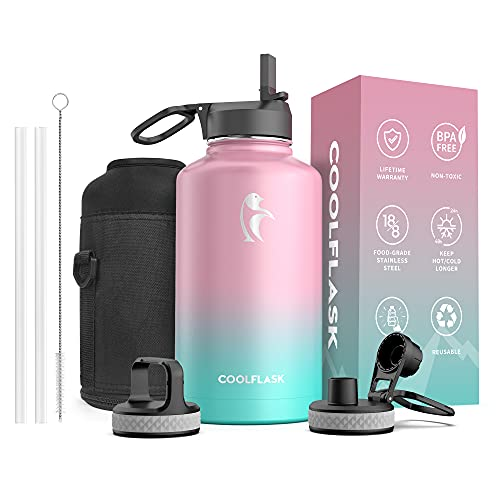64 oz Water Bottle with Straw & Spout Lid, Coolflask Insulated Water Bottle Half Gallon Wide Mouth , Sweat-Proof BPA-Free Keep Cold for 48 Hrs or Hot for 24 Hrs, Bubblegum Princess