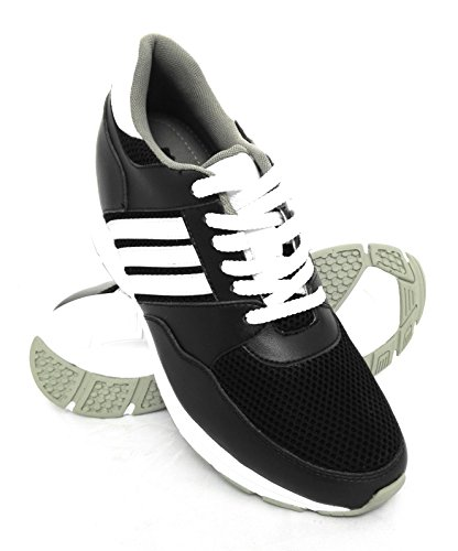 ZERIMAR Zapatos Deportivos con Alzas Interiores para Hombres Aumento 7 cm | Zapatos de Hombre con Alzas Que Aumentan Su Altura | Zapatos Hombre Casuales | Color Negro Talla 42