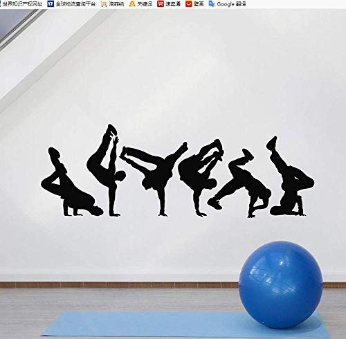 Pegatinas De Pared Break Dance Tatuajes De Pared Silueta Bailarina De La Calle Sala De Baile Dormitorio Juvenil Decoración Del Hogar Vinilo Ventana Pegatinas Creativo Mural 57X20Cm