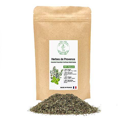 Hierbas Provenzales - Ideal para cocinar - Tomillo, Romero, Orégano y Ajedrea - Cultivado en Provenza - Paquete de 100 gramos