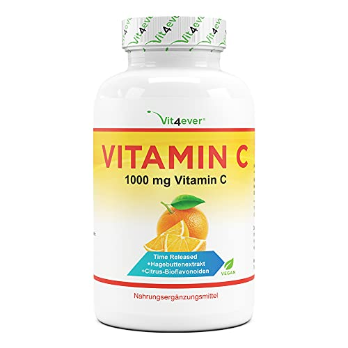 Vitamina C 1000mg - 365 compresse in un anno di fornitura - Effetto Rilasciato nel Tempo - Vitamina C + Estratto di Rosa Canina + Bioflavonoidi di Agrumi - Vegan - Altamente Dosato