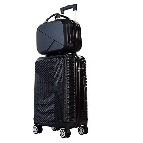 スーツケース 親子セット 化粧ケース キャリーケース 機内持込 ファスナー キャリーバッグ 超軽量 ジッパー 人気 ミニトランク 旅行出張15L+45L