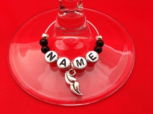 Nom personnalisé – Verre de vin avec moustache Charm Charm Verre à vin avec carte cadeau par Libby de place de marché