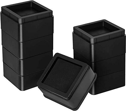 Utopia Bedding Verstellbare Möbelerhöhung (5 cm) - (8er-Satz) Strapazierfähiger ABS Kunststoff mit Schaumstoff, Anti-Rutsch Gummipolster - Aufsteller zum Bett, Sofa, Tisch (bis zu 10 cm) – Schwarz