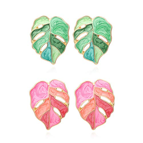 Winssi 2 Pairs Palm Leaf Earrings Monstera Earrings Dangle for Women Girls Tropical Jewelry Gift (Green and Pink)