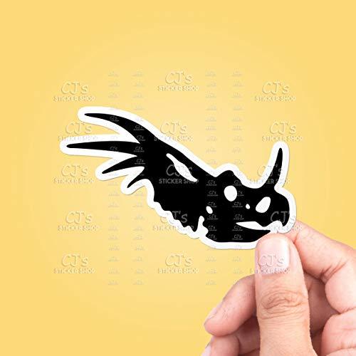 rfy9u7 Dinosaur Skull Silhouette #4 Vinyl Sticker, Laptop Stickers, Decal, MacBook Decal, 12 Inch, 3 PCS
