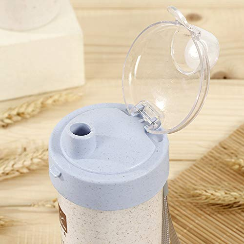 OH2 Brand - BPA Free Insulated Water Bottle, Eco-Friendly Water Bottle, Biodegradable, Portable, Wheat Straw (Blue)