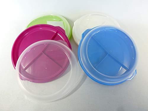 wuselwelt 801847 - Plato de menú con tapa, apto para microondas, 3 piezas, multicolor
