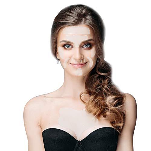 Almohadillas antiarrugas, 17 parches de silicona reutilizables para el pecho, adhesivos para almohadillas antiarrugas faciales, que reducen y suavizan las arrugas alrededor de la frente, los ojos, la