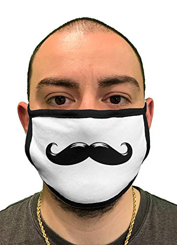 Mustache - Comical Humor Hipster Curl 2-Ply Cotton Face Covering (White/Black Piping)