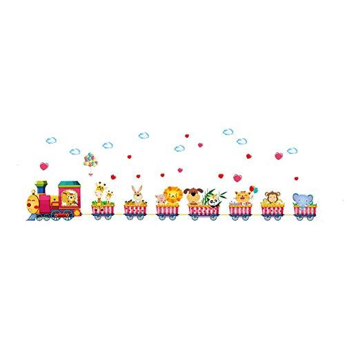 Train Circus Safari Animals Wall Stickers Children Room Home Decor Train Vinyl Kids Room Decal Nursery Decor 52X158Cm