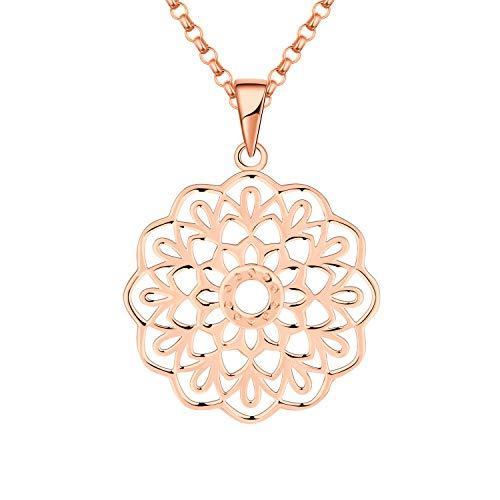 JO WISDOM Collar de Mandala Plata de Ley 925 Mujer,Collar de Yoga Flor de la Vida Joyas...