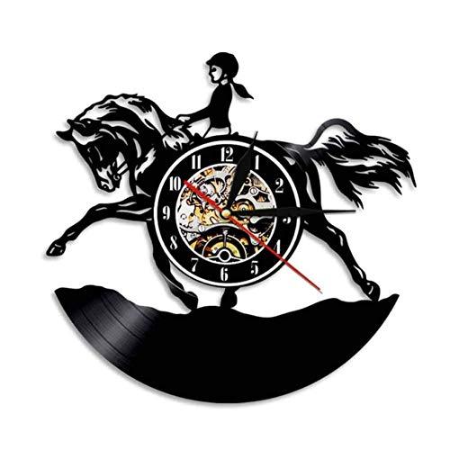 Wanduhr aus Vinyl Weibliche Pferdesport Wandkunst Wohnkultur Wanduhr Hunter Jumper Zaun Mädchen Schallplatte Uhr Pferdesport Reiter Pferd Geschenk 12 Zoll Xi137