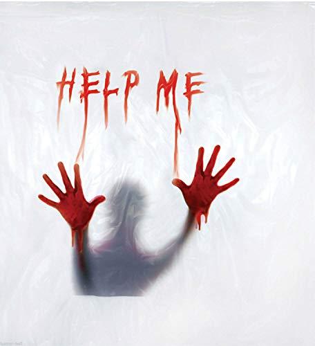 Deluxe Psycho BLOODY HELP ME SHOWER CURTAIN Halloween Bathroom Prop Decoration
