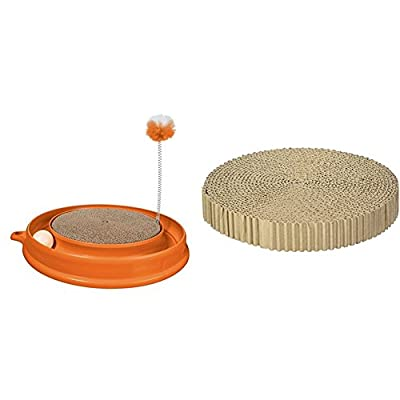Catit Play-n-Scratch Toy and Replacement Scratch Pad, Orange