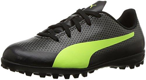 PUMA Unisex-Kids Spirit Turf Trainer Soccer-Shoes, Puma Black-Fizzy Yellow-Castor Gray, 5 M US Big Kid