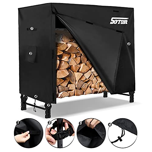 Sotor Waterproof Firewood Rack with Cover Resistant Outdoor Fireplace Logs Rack Holder Covering 600D PU Oxford Fabric Firewood Cover Windproof Weather Protection with Storage Bag