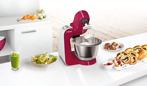 Bosch MUM58420 Macchina da Cucina, Acciaio Inossidabile, 700 W, 3.9 Litri, Inox e Plastic, 4 velocità, Argento/Rosso