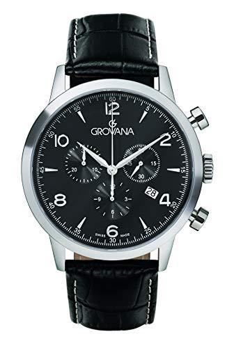 Grovana Herren Chronograph Schweizer Quarzwerk mit schwarzem Lederarmband – 2100.9537