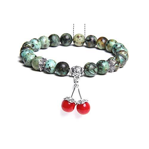 Bracelet Piedra lunar de cristal de howlita natural para mujer, cuentas para yoga femenino, joyería energética Bраслет-38 turquesa africana, 19 cm