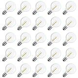 Jeromeki Bombillas LED de Repuesto G40, Base de Tornillo E12 Bombillas de Globo LED Inastillables Luz para Luces de Cadena Solares Blanco CáLido