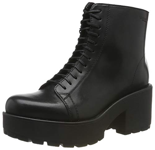 Vagabond Womens Dioon Lace Up Black Closed Toe Ankle Block Heel Boot - Black - 6