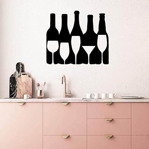Pegatina De Pared,Botella De Vino Copa Pared Silueta Calcomanía Arte Mural Alcohol Bar Restaurante Cocina Decoración Del Hogar Vinilo Pegatinas De Pared Mural S729,Talla:45Cm×65Cm