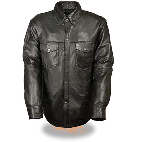Milwaukee Leather LKM1600 Men's Black Lightweight Casual Style Leather Shirt with Gun Pocket - 2X-Large