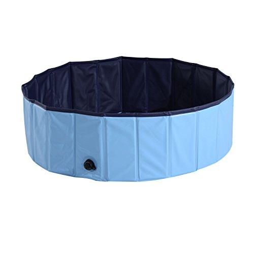PawHut Hundepool Planschbecken Schwimmbecken Schwimmbad Hundebad, PVC+Holz, Blau/Rot, Φ100x30cm (Hellblau+Dunkelblau)