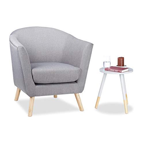 Relaxdays Cocktailsessel Retro, skandinavisches Design, weich, bequem, runder Relaxsessel, HxBxT: 81 x 78 x 70 cm, grau