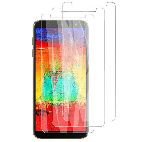PUUDUU [3 Pièces Verre Trempé pour Samsung Galaxy J6 2018 Film Protecteur, Anti Rayures, Dureté 9H, sans Bulles - Transparent,Protection Écran pour Samsung Galaxy J6 2018