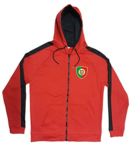 Portugal Jacke Sweater Rot JA GO Portugal Trikot Look Zip Nation Fussball Sport (M)