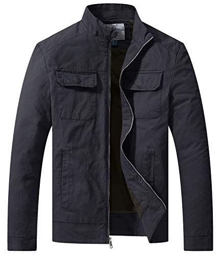 WenVen Men's Cotton Casual Army Lightweight Military Jacket, Gray, L